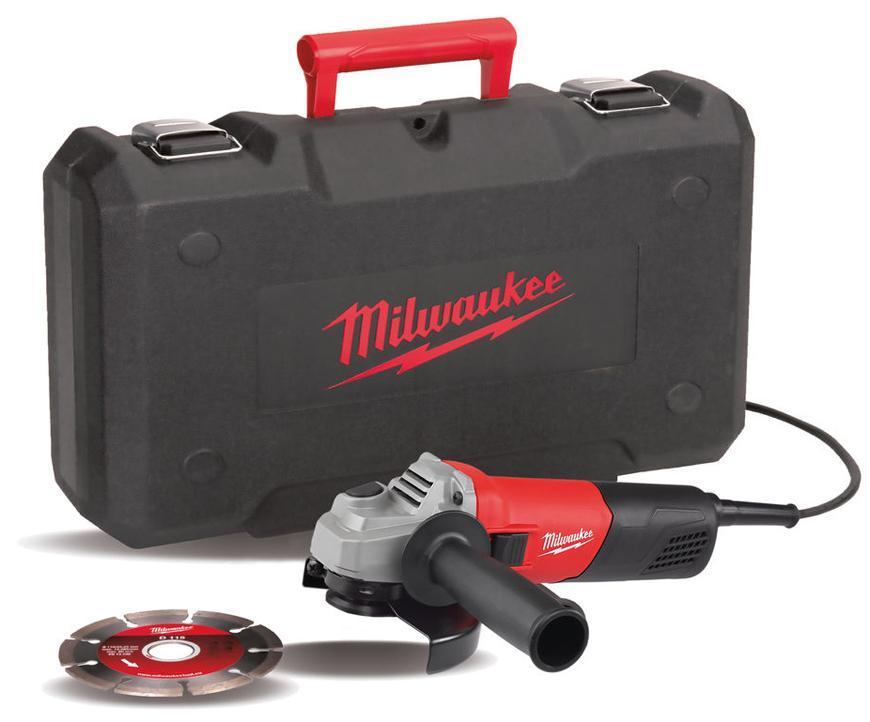 Bruska Milwaukee® AG 800-115 E D-Set, 115 mm, 800W, kufor, uhlová
