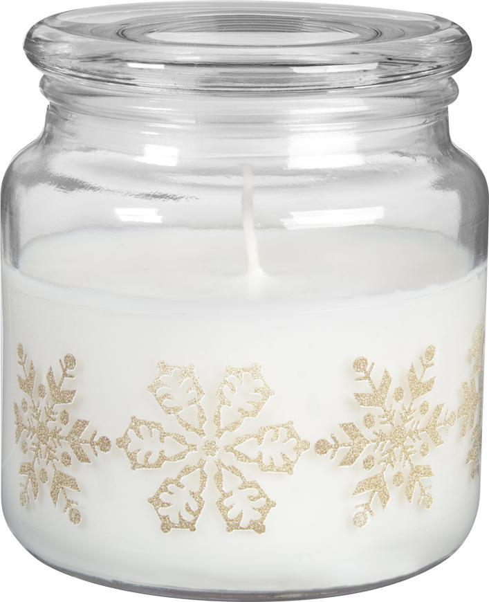 Sviecka bolsius Glass 99/100+L mm, Snehové vločky, vanilka