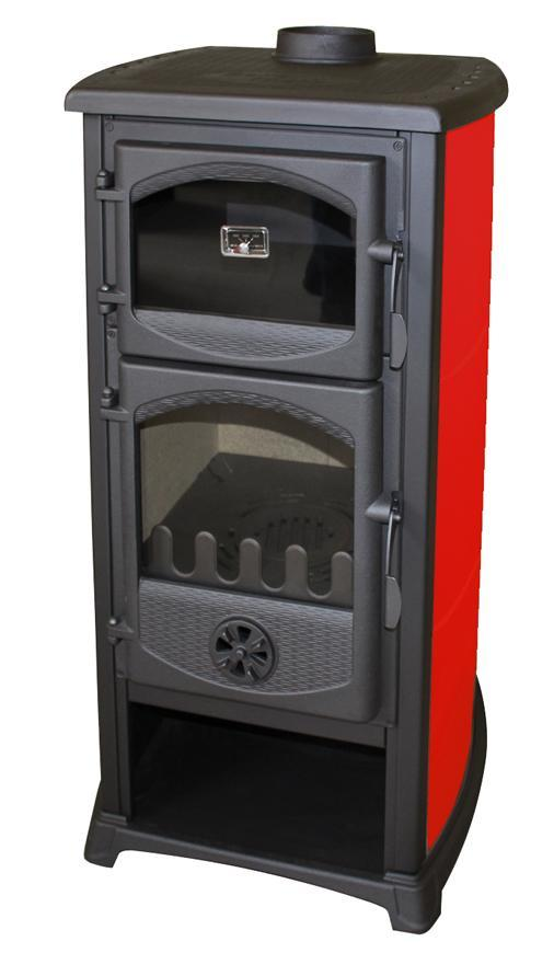 Kachle Thalia Cucina, červená, 8,3 kW, 120 cm, liatina/šamot, s pecou