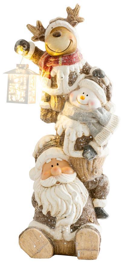 Dekorácia MagicHome Vianoce, Santa, sob a snehuliak s lampášikom, 1 LED, 2xAAA, keramika, 29x24x66 c