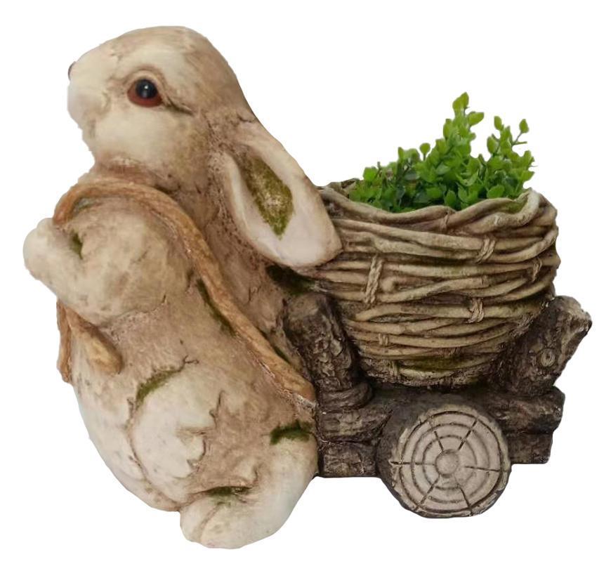 Dekoracia Gecco 8123, Zajačik s vozíkom, magnesia, 39 cm
