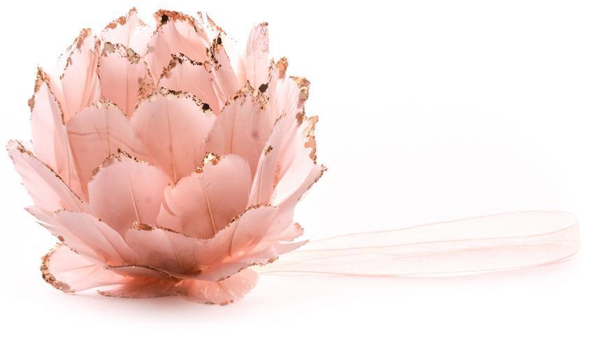 Dekorácia MagicHome, ružová, 9 cm, závesná, páperová