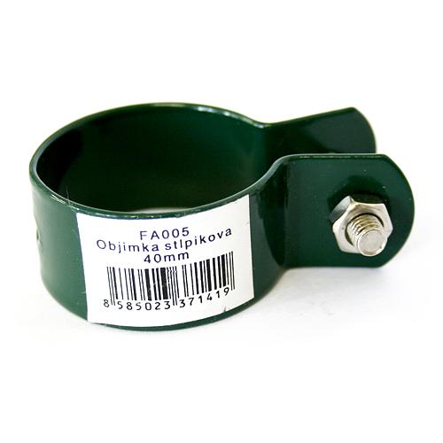 Objimka METALTEC FA005 040 mm, zelena, RAL6005, na stĺpik