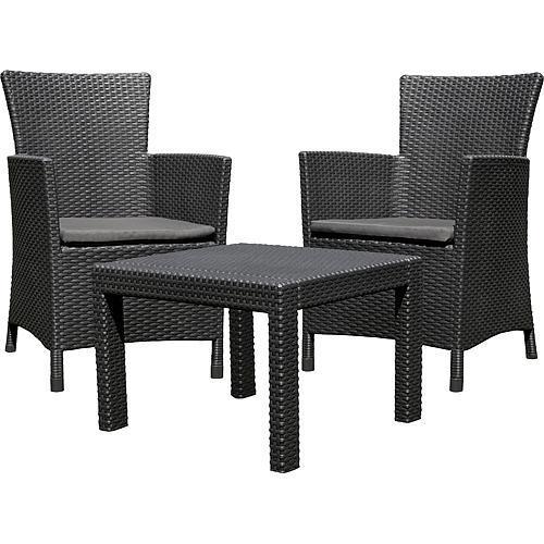 Set terasový Allibert ROSARIO, graphite/coolgray, stôl, 2x kreslo