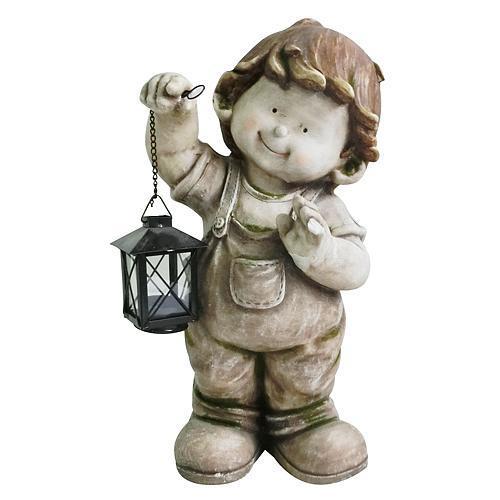 Dekoracia Gecco 8001, Chlapec s lampášom, magnesia, 43 cm