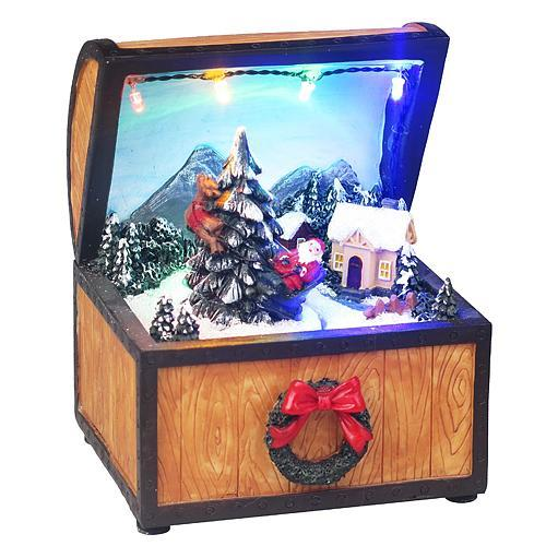 Dekorácia MagicHome Vianoce, Truhlica, 4 LED multi, polyresin, 3xAA, interiér, 10x10x13 cm
