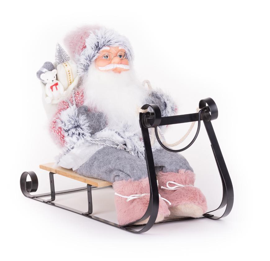 Dekorácia MagicHome Vianoce, Santa na sánkach, sivo - ružový, 46 cm