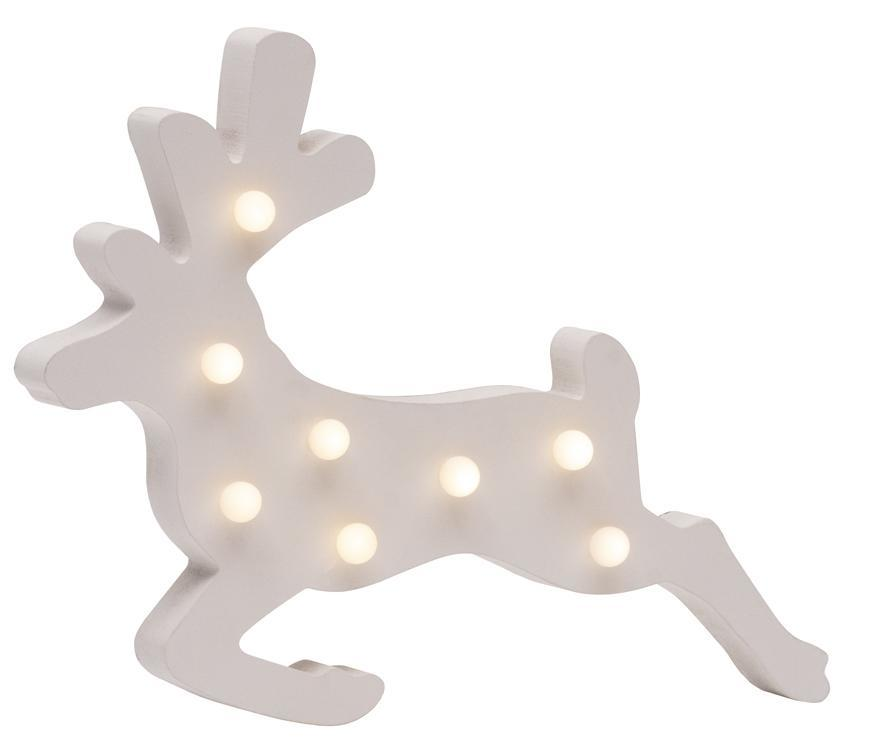 Dekorácia MagicHome Vianoce Woodeco, Sobík, 8 LED, 33x24 cm