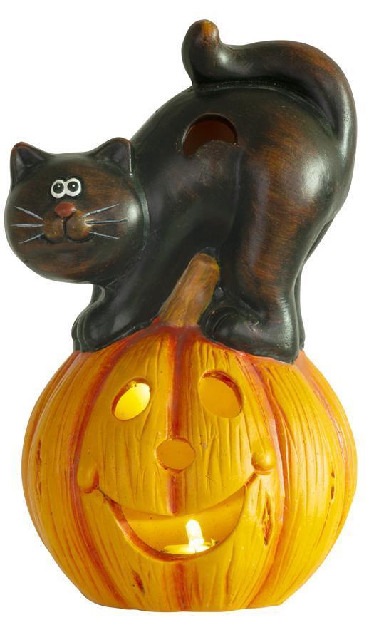 Dekorácia MagicHome Nature, Tekvica LED, s mačkou, keramika, 22 cm