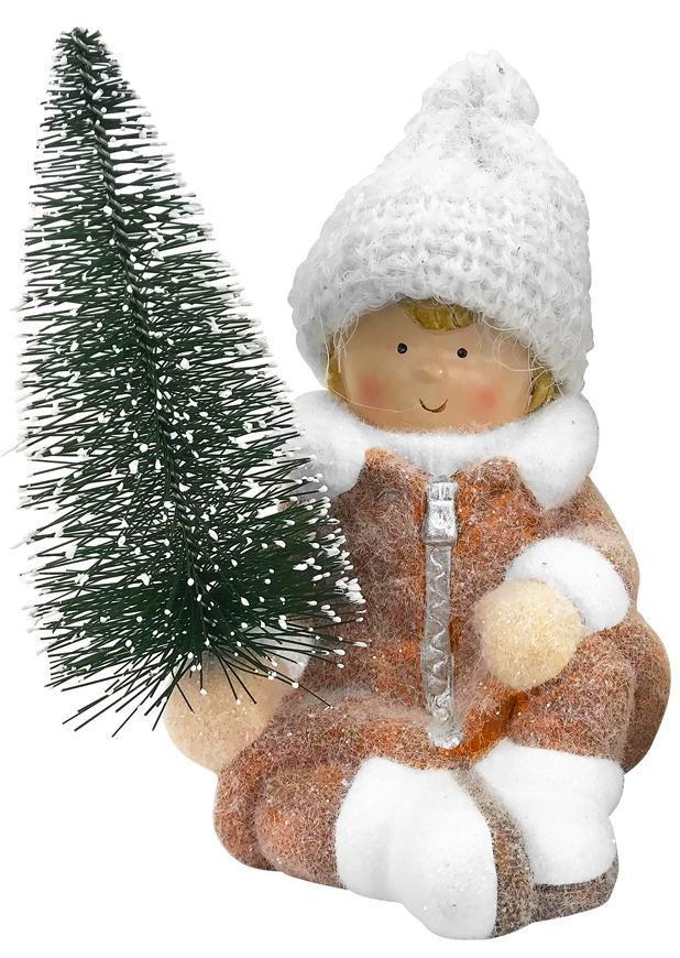 Postavička MagicHome Vianoce, Chlapček so stromčekom, terakota, 14,5x13x17 cm