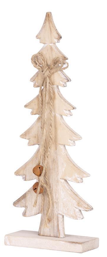 Dekorácia MagicHome Vianoce Woodeco, Stromček biely, bal. 2 ks, 11x30 cm
