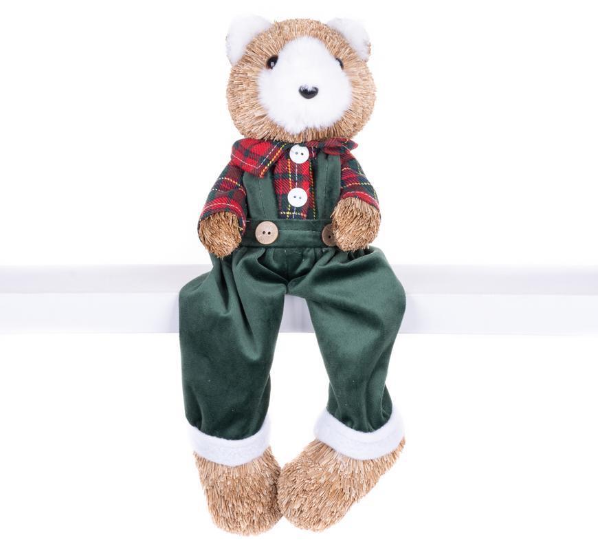 Dekorácia MagicHome Vianoce, Medveď v károvanej košeli, 17x14x26 cm