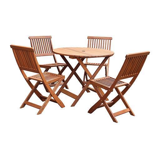 Set LEQ GULDBORG, terasový, drevený, 1x stôl + 4x stolička