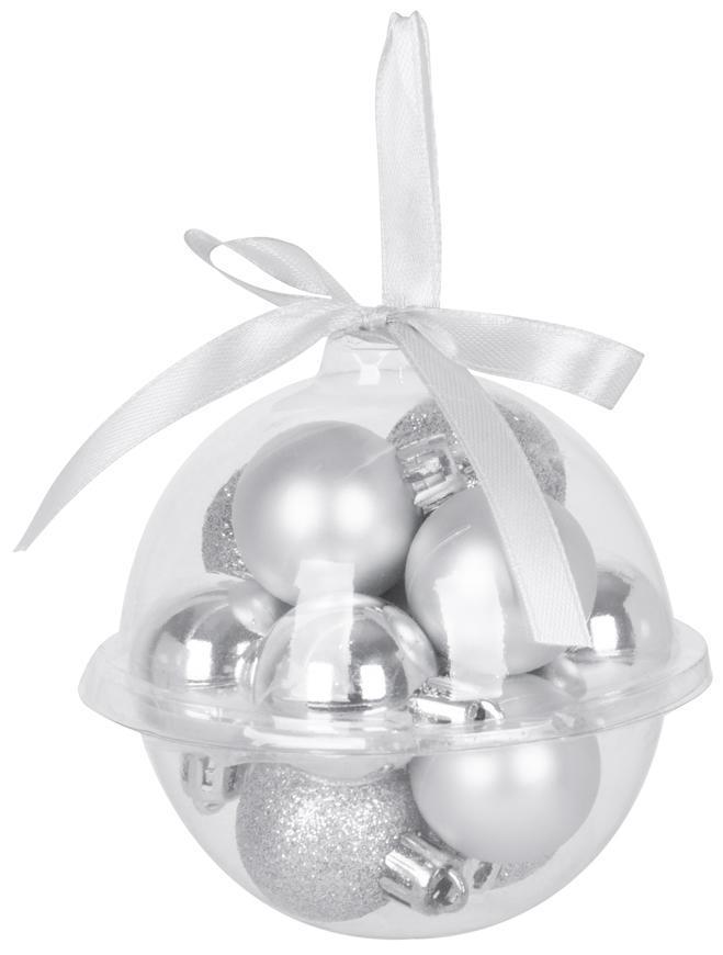 Gule MagicHome Vianoce, 12 ks, 3 cm, strieborné, na vianočný stromček