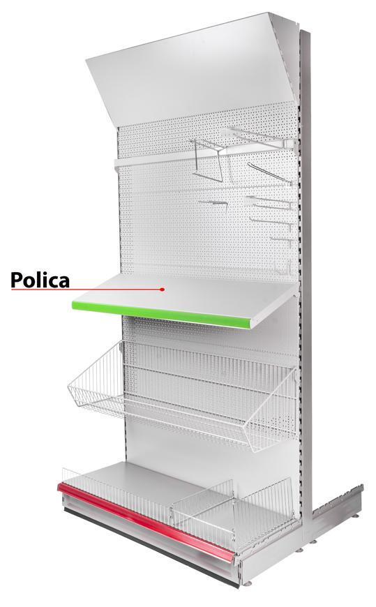 Polica Racks H23 0950x370x0.8 mm, s držiakmi *M*