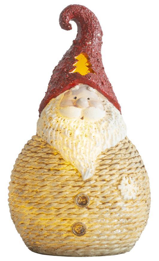 Postavička MagicHome Vianoce, Santa okrúhly malý, LED, polyresin, 19,5 cm