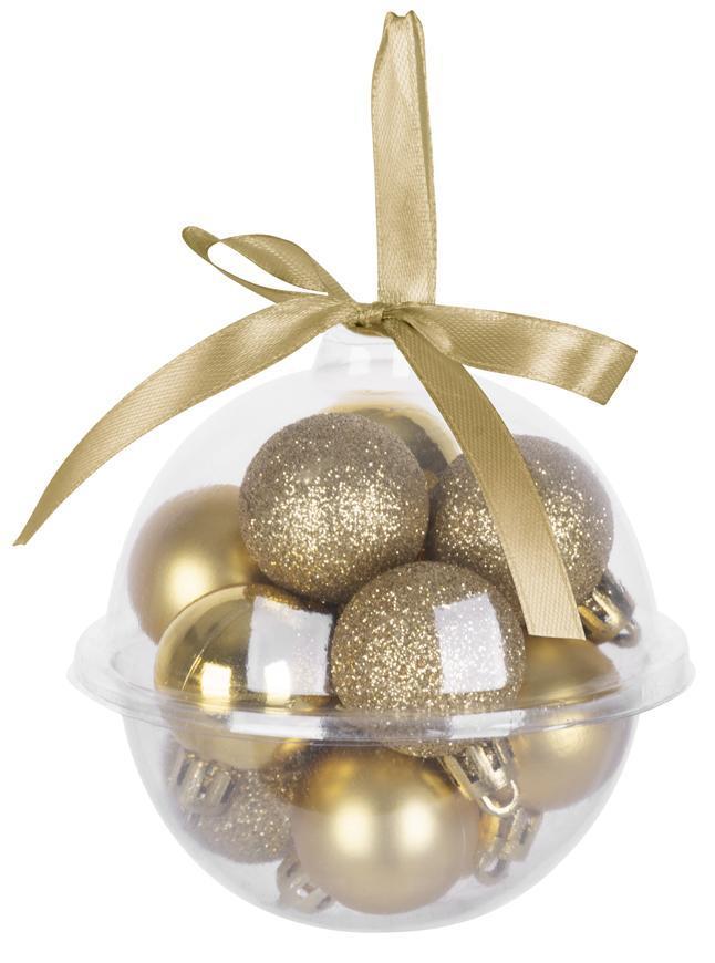 Gule MagicHome Vianoce, 12 ks, 3 cm, zlaté, na vianočný stromček
