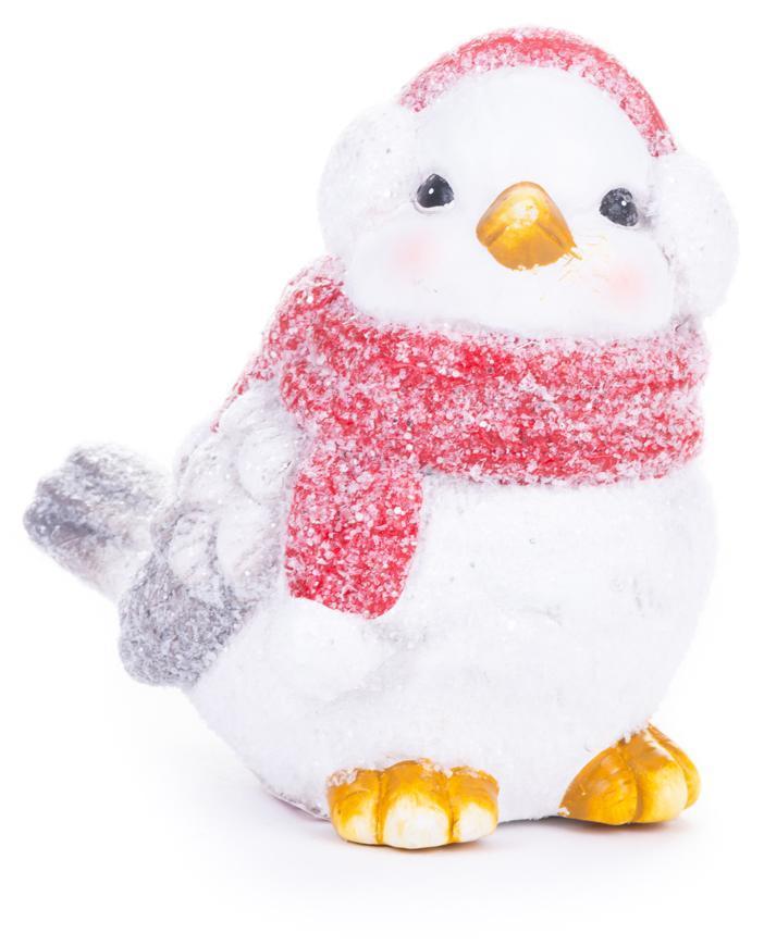 Dekorácia MagicHome Vianoce, Vtáčik samček, bordový šál, terakota, 13,80x9x12,80 cm