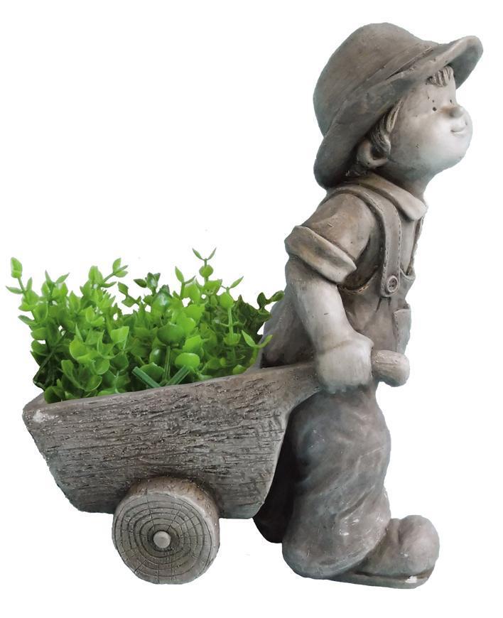 Dekoracia Gecco 9066, Chlapec s vozíkom, magnesia, 47 cm