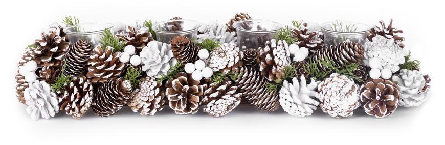 Ikebana MagicHome Vianoce, so šiškami, zasnežená, adventná, 50x17x09 cm