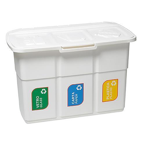 Kôš DEAhome ECOPAT 3x 25 lit, biely, na recykláciu odpadu 75x37x50
