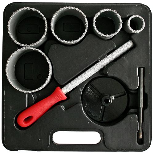 Sada vyrezávačov s unášačom HT01-6008, 33-53-67-73-83 mm,  diamantové korunky s pilníkom