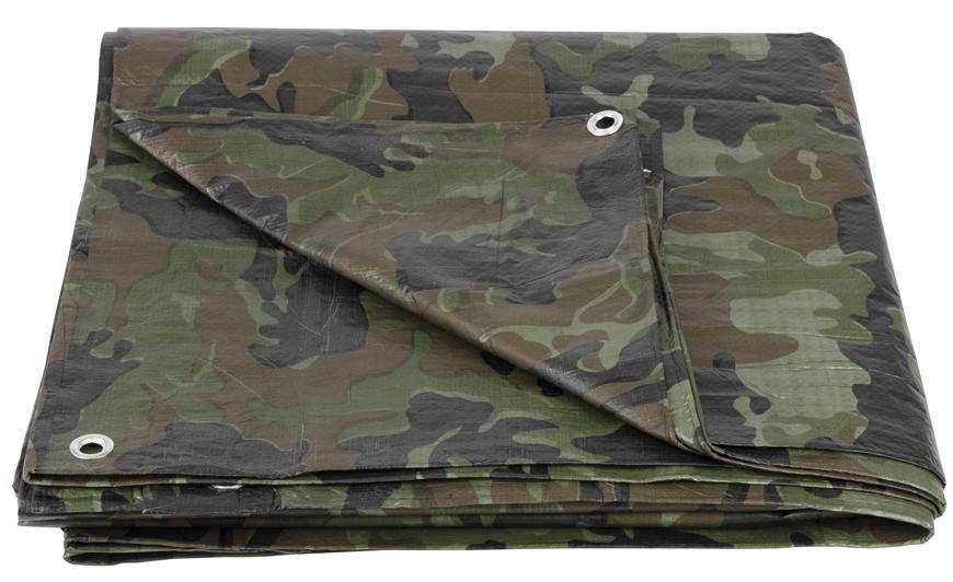 Plachta Tarpaulin Khaki 04,0x05,0 m, 80 g/m, zakrývacia, oliva/kamufláž