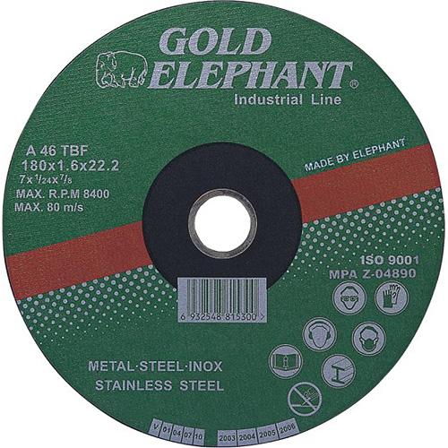Kotúč Gold Elephant 41AA 115x1,6x22,2 mm, rezný na kov a nerez A46TBF