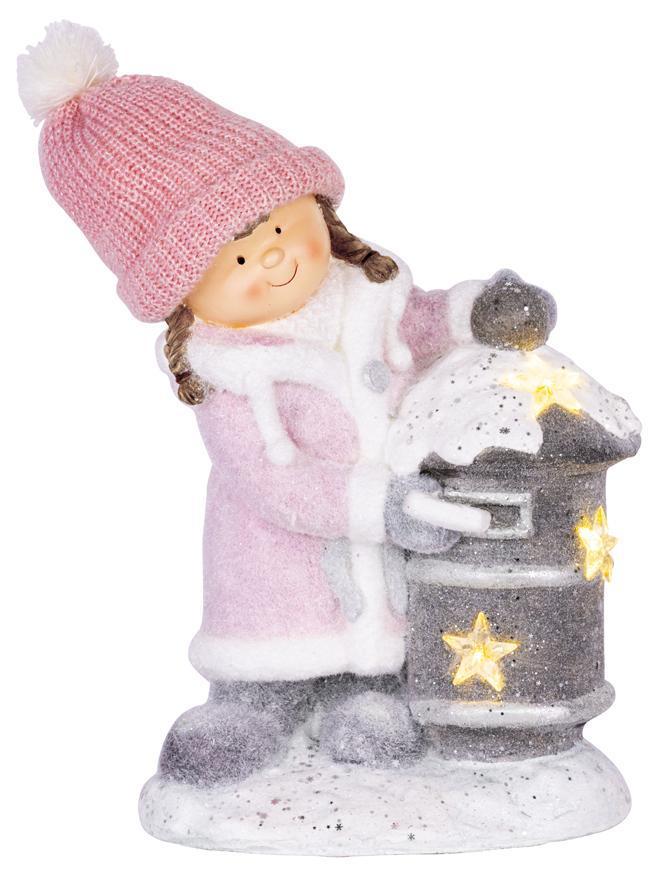 Dekorácia MagicHome Vianoce, Dievčatko so schránkou, 1 LED, 3xAA,  keramika, 31x23x43 cm