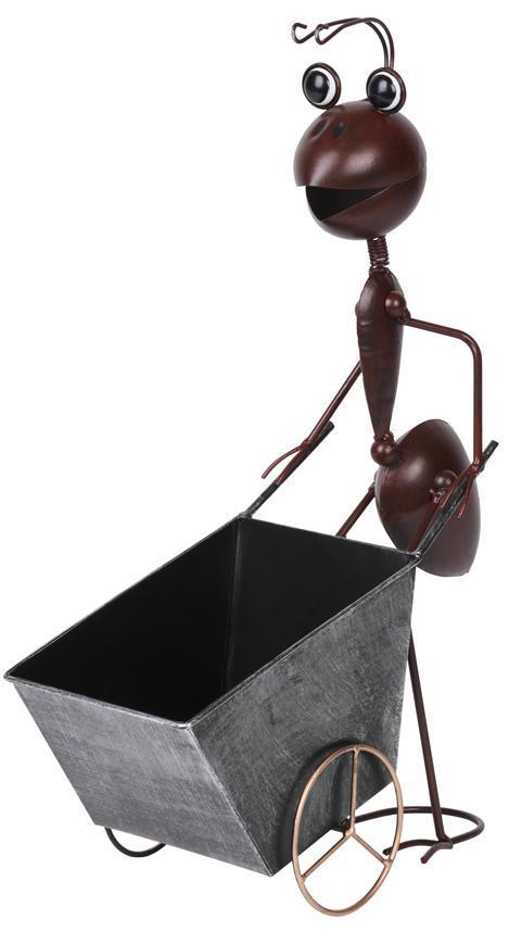 Dekoracia Mecco 4212, Mravec s vozíkom, 46 cm, plech