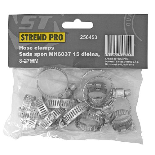 Sada upínacích spon Strend Pro HC515, 15 dielna, na hadicu, 8-27 mm