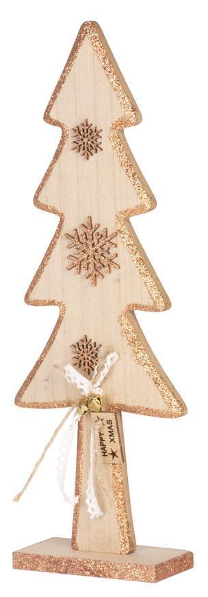 Dekorácia MagicHome Vianoce Woodeco, Jedlička, bal. 2 ks, 14x40 cm