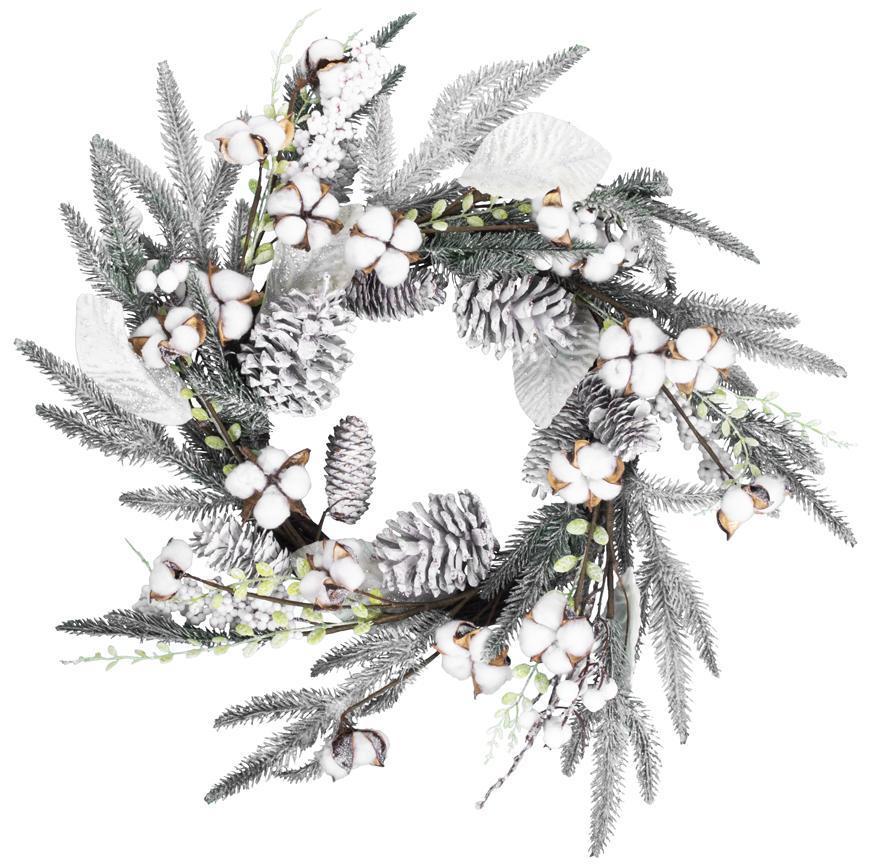 Veniec MagicHome Vianoce, so zasneženými vetvičkami, 60x60x14 cm
