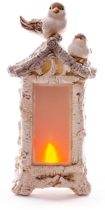 Dekorácia MagicHome Vianoce, Vtáci na kozube, 12 LED, 3xAAA, keramika, 21x15x44 cm