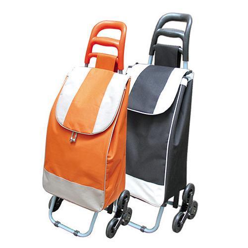 Vozik Alfred, oranžový, PE/PVC, EVA, 30 kg, 35x30x96 cm, nákupný