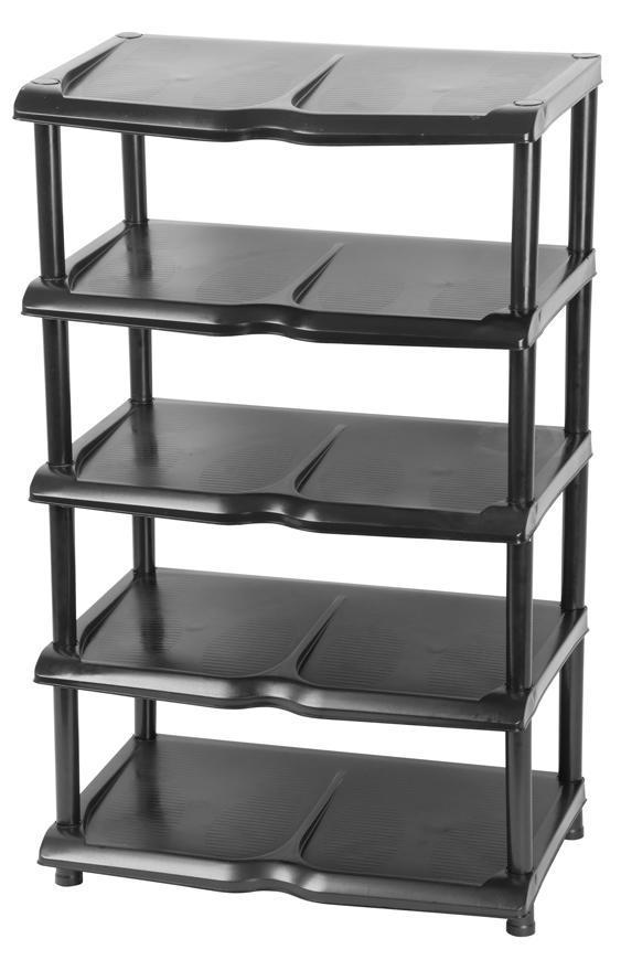 Regál Strend Pro, na topánky, 5 priečkový, čierny, 48x30,5x86 cm