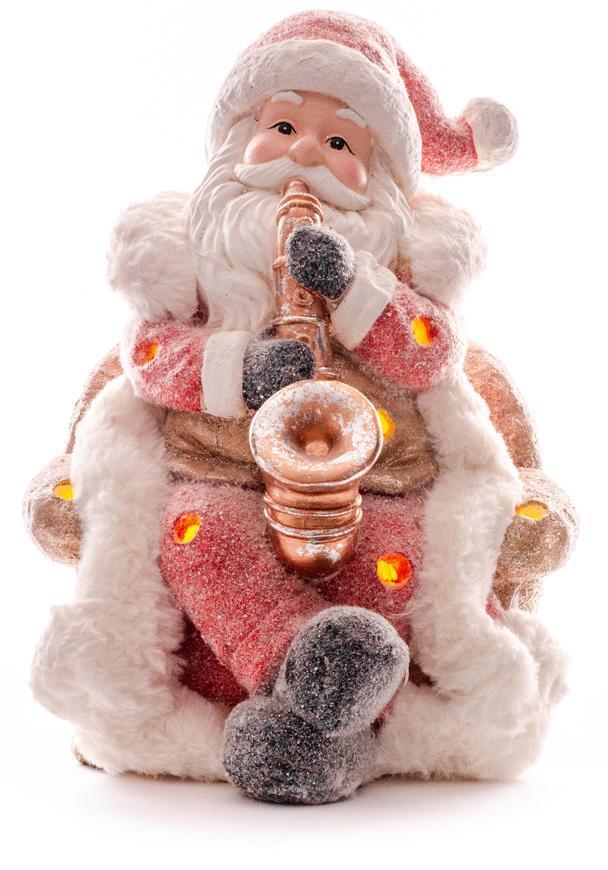Dekorácia MagicHome Vianoce, Santa so saxafónom, LED, 3xAAA, 28x27x36 cm