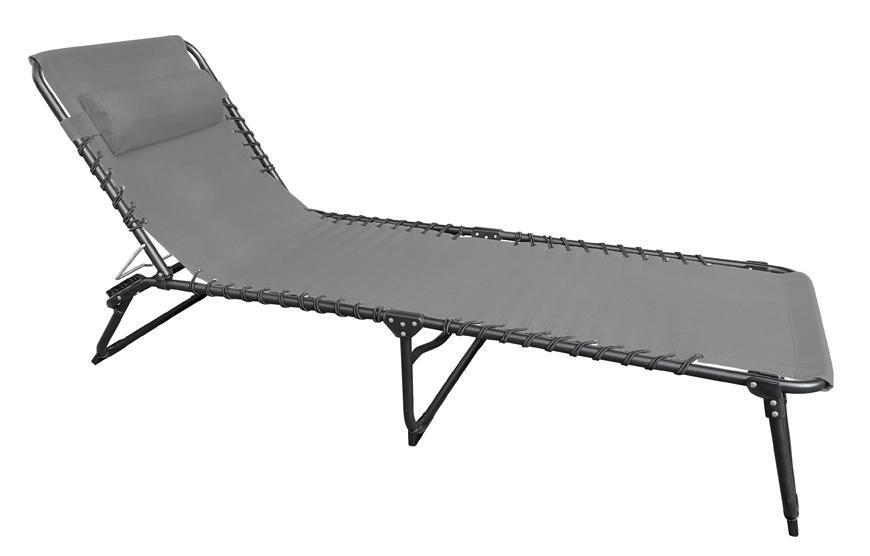 Lehatko VERACRUZ, sivé, polohovateľné, 190x58x28 cm