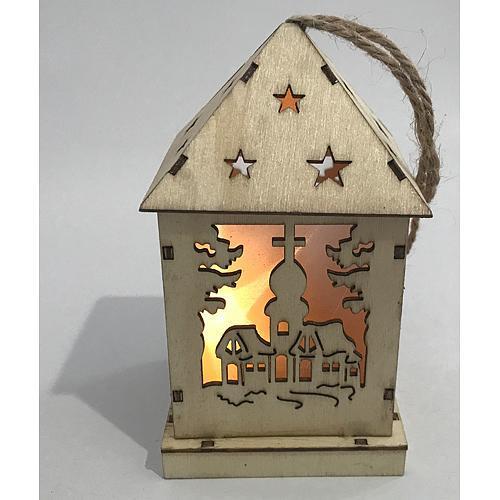Dekoracia Woodeco XS003, Lampášik Village, 1xLED, 12x6 cm