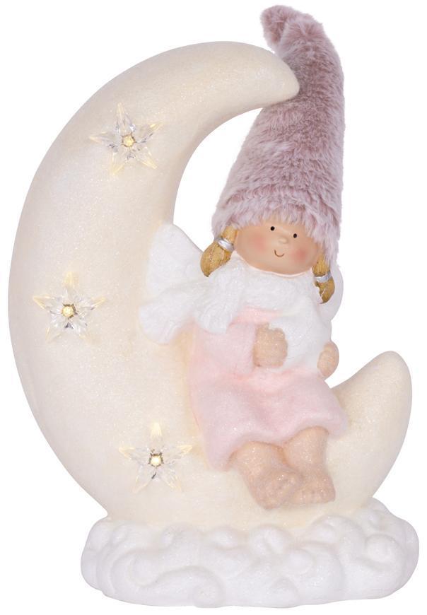 Dekorácia MagicHome Vianoce, Dievčatko sediac na mesiačiku, 3 LED, keramika, 26,50x16x35 cm