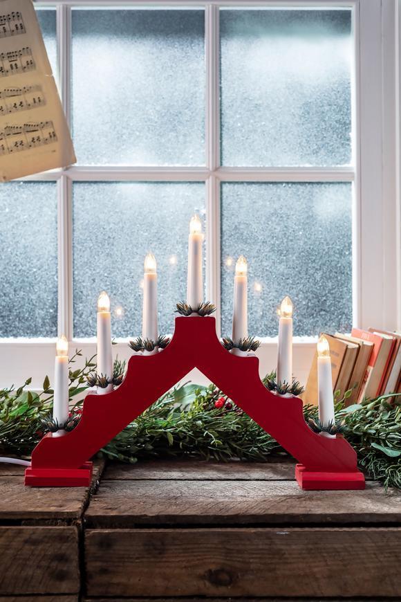 Svietnik MagicHome Vianoce, 7 LED teplá biela, červený, 2xAA, interiér, 39x31 cm