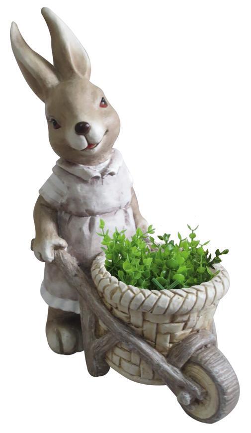 Dekoracia Gecco 8667, Zajačik s fúrikom, magnesia, 49 cm