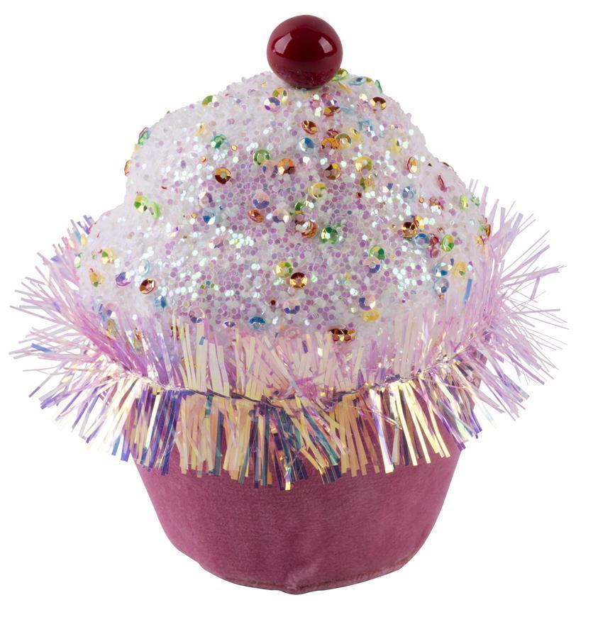 Dekorácia MagicHome Candy Line, mafin, ružový, 7x7x11 cm, závesný