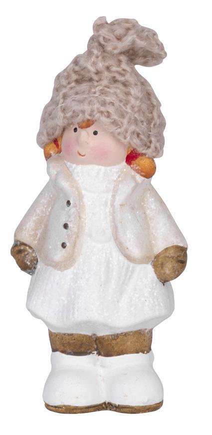 Postavicka Dievčatko s pletenou čiapočkou, terakota, 11 cm