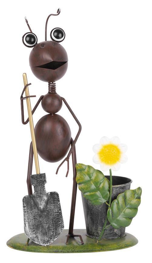 Dekoracia Mecco 4034, Mravec s rýľom, 35 cm, plech