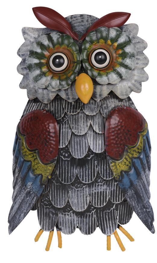 Dekoracia Mecco 1646, Sova závesná, 33 cm, plech