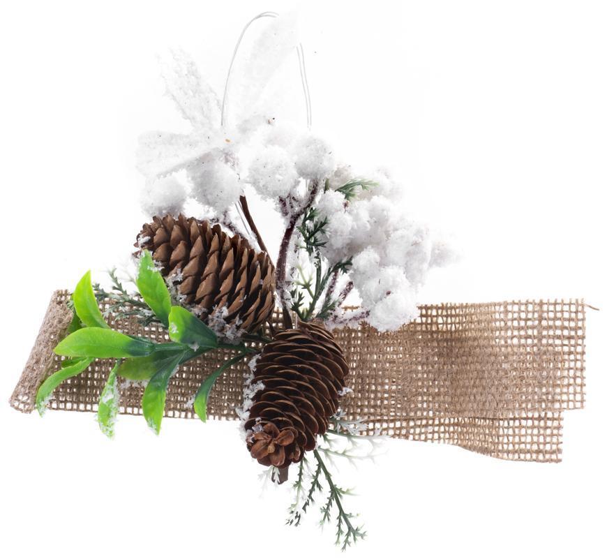 Vetvička MagicHome Vianoce, so šiškami a jutovou stuhou, biela, 15 cm, bal. 6 ks