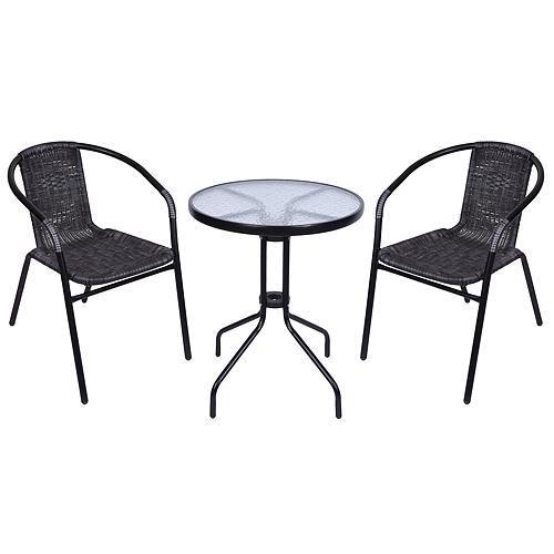 Set balkónový ALESIA, šedý, stôl 70x60 cm, 2x stolička 52x55x73 cm, oceľ