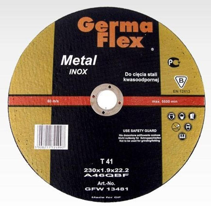 Kotuc GermaFlex Metal/Inox T41 230x1,9x22,2 mm, A46Q Inox BF, ocel/nerez