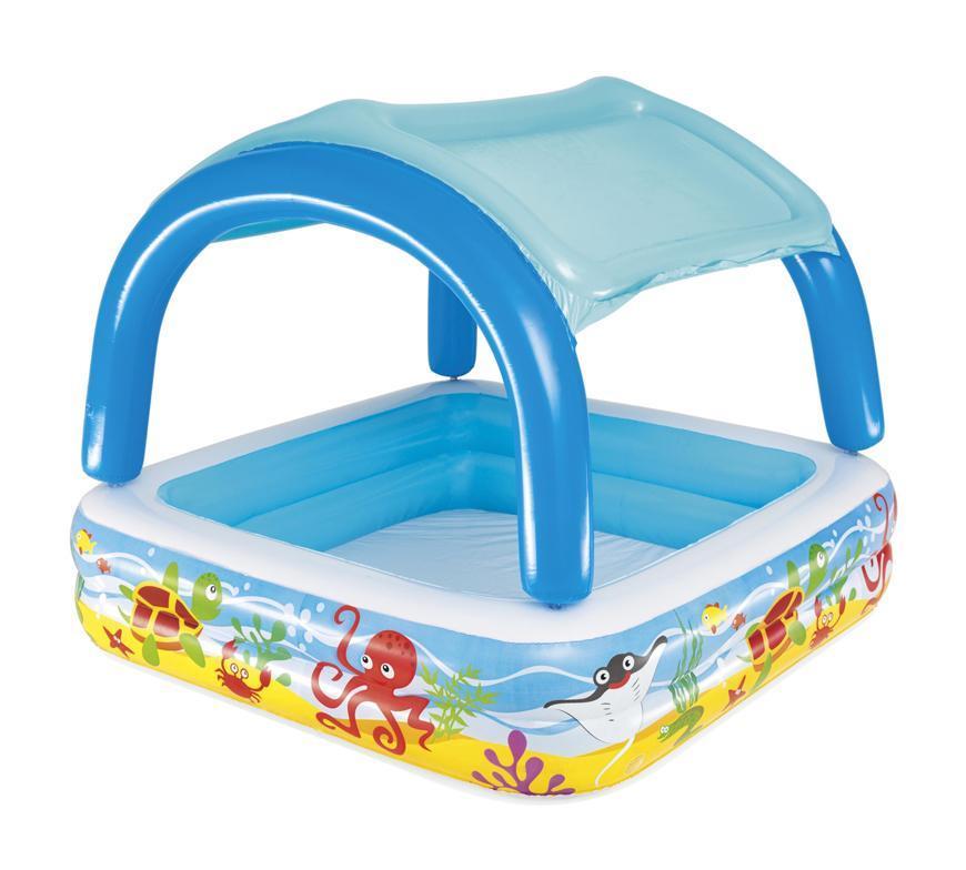 Bazén Bestway® 52192, Coral reef, detský, nafukovací, so strieškou, 1,47x1,47x1,22 m